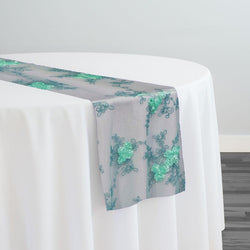 Baby Rose Embroidery Table Runner in Mint