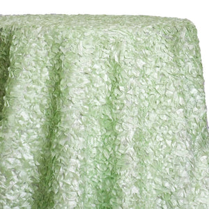 Curly Satin Table Linen In Mint