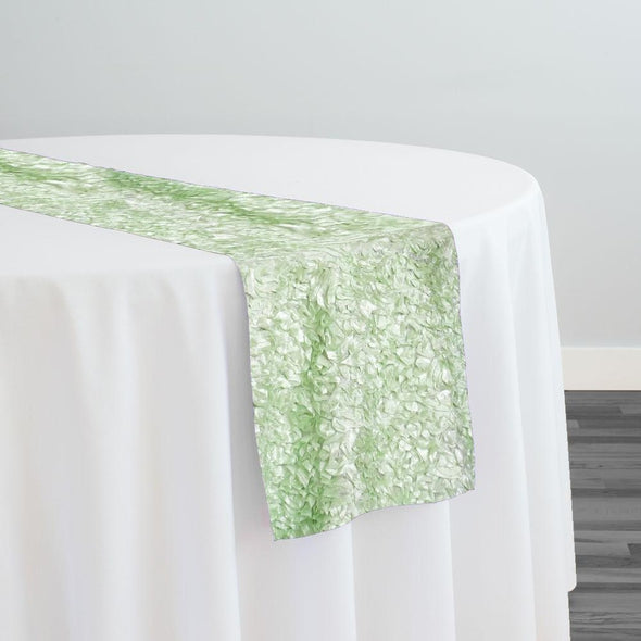 Curly Satin Table Runner in Mint