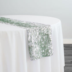 Austrian Wave Satin Table Runner in Mint