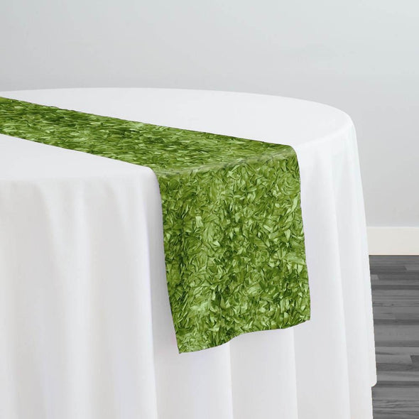 Curly Satin Table Runner in Moss