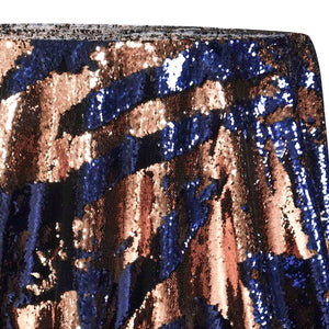 Two-Tone Sequins Table Linen in Navy and Rose Gold