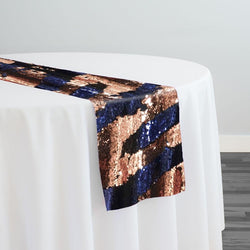 Two-Tone Sequins Table Runner in Navy and Rose Gold