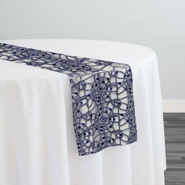 Flower Chain Lace Table Runner in Navy and Silver
