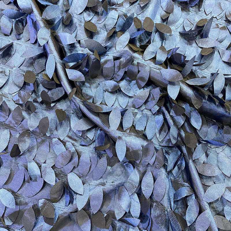 Leaf Hanging Taffeta Wholesale Fabric in Navy