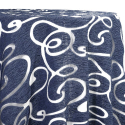 Contempo Scroll Sheer Table Linen in Navy