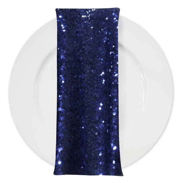 Glitz Sequins (w/ Poly Lining) Table Napkin in Navy