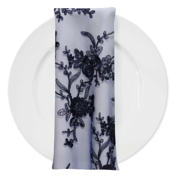 Laylani Lace (w/ Poly Lining) Table Napkin in Navy