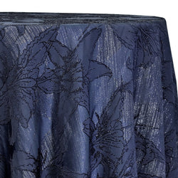 Floral Reef Jacquard Table Linen in Navy
