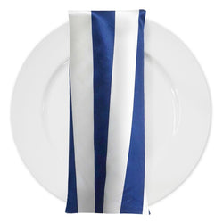 "2"" Satin Stripe Table Napkin in White and Navy"