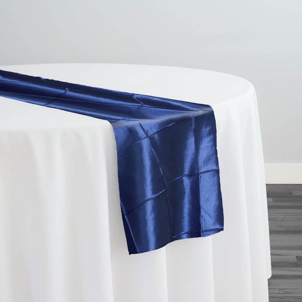"4"" Pintuck Taffeta Table Runner in Navy"
