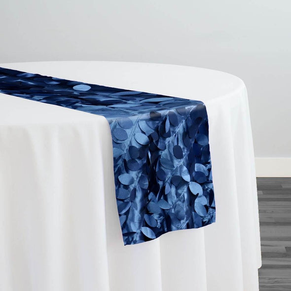 Leaf Hanging Taffeta Table Runner in Navy