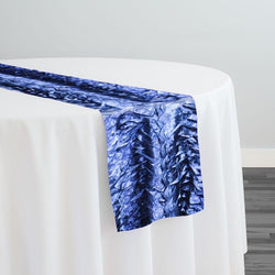 Austrian Wave Satin Table Runner in Navy