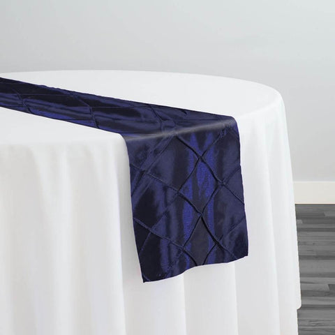 "2"" Pintuck Taffeta Table Runner in Navy 045"