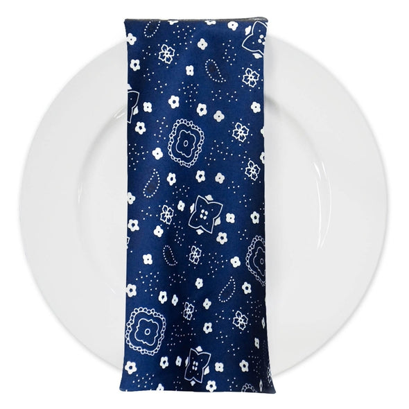 Bandana Print Table Napkin in Navy