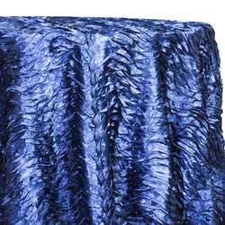 Austrian Wave Satin Table Linen in Navy