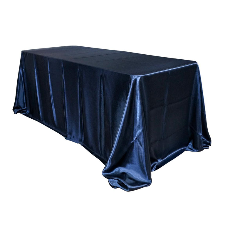 "Economy Shiny Satin 90""x132"" Rectangular Tablecloth -  Navy"