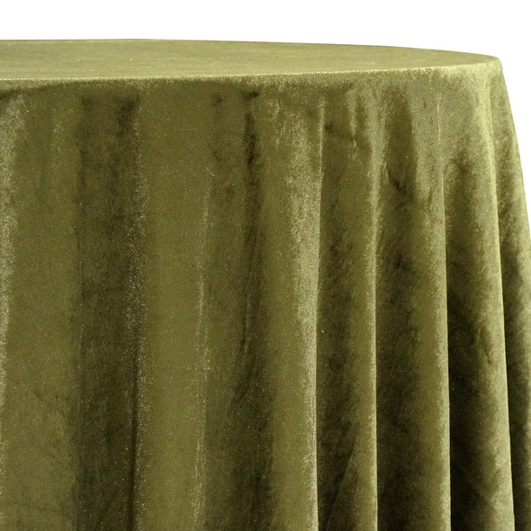 Lush Velvet Table Linen in Olive
