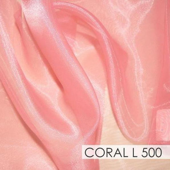 Crystal Organza Table Runner in Coral L 500