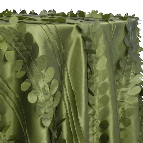 Diagonal Taffeta Table Linen in Olive