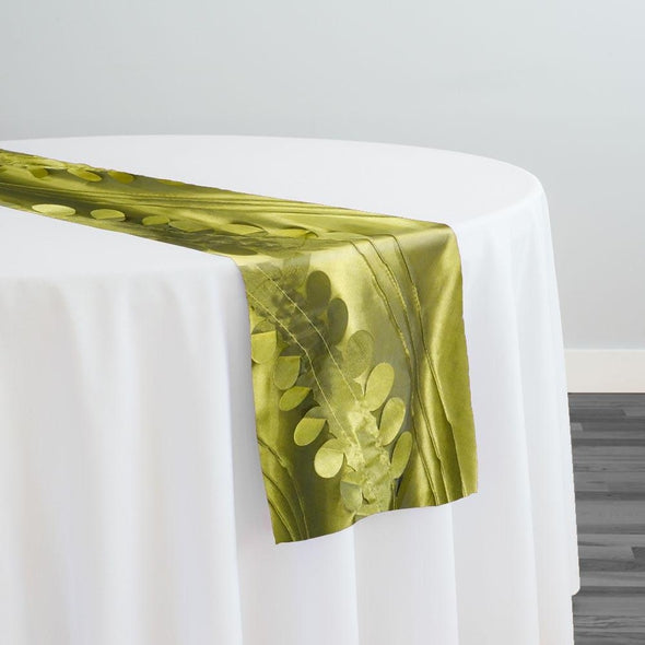 Diagonal Taffeta Table Runner in Olive