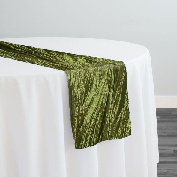 Accordion Taffeta Table Runner in Olive