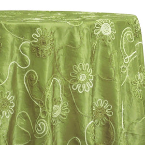 Eyelash Embroidery Table Linen in Olive