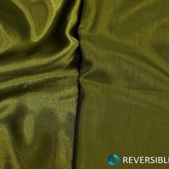 Shantung Satin (Reversible) Table Linen in Olive