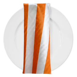 "2"" Satin Stripe Table Napkin in White and Orange"