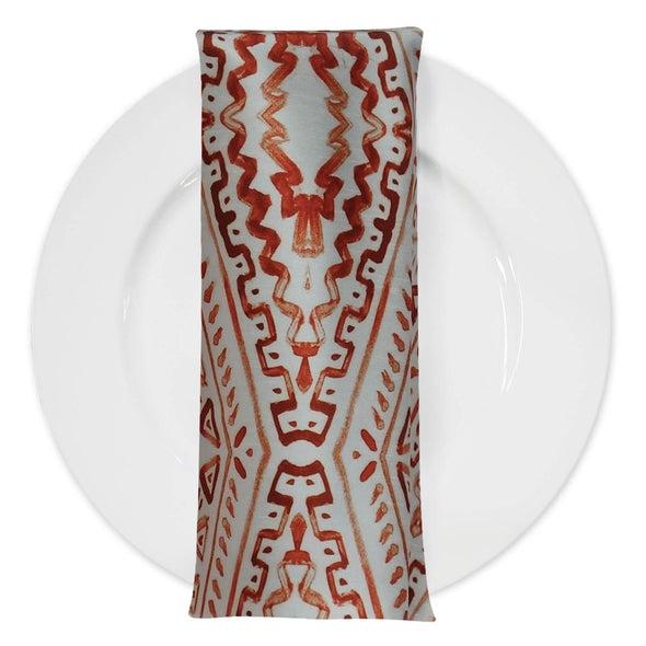 Aztec Print (Dupioni) Table Napkin in Orange