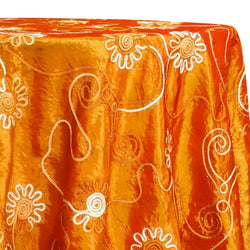 Eyelash Embroidery Table Linen in Orange