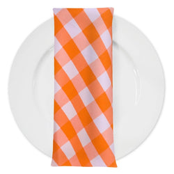 Polyester Checker (Gingham) Table Napkin in Orange