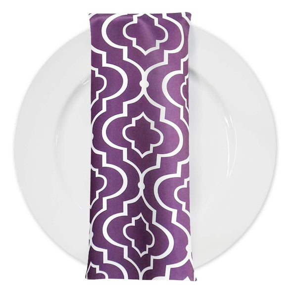 Gatsby Print (Lamour) Table Napkin in Plum