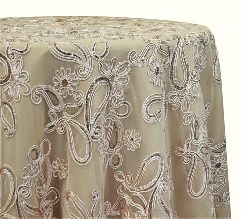 "Paisley Floret Sequins - Champagne 120"" Round Wedding Tablecloth"