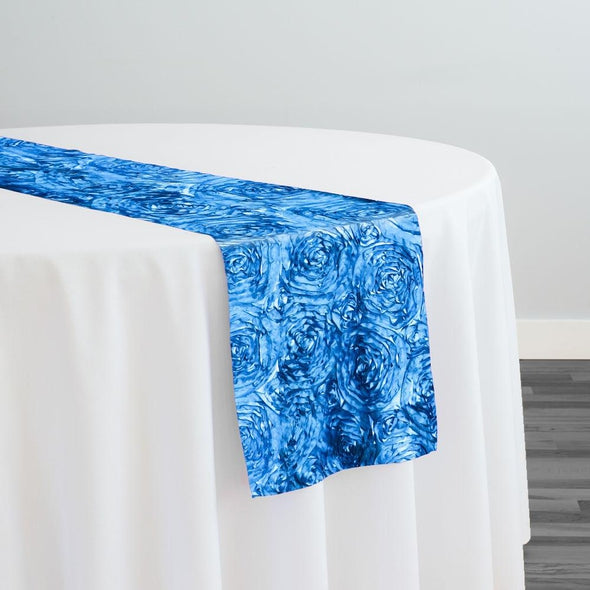 Rose Satin (3D) Table Runner in Peacock