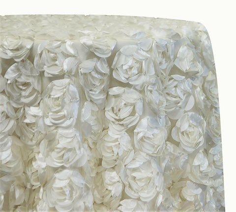 "Peony Bouquet - Ivory 120"" Round Wedding Tablecloth"