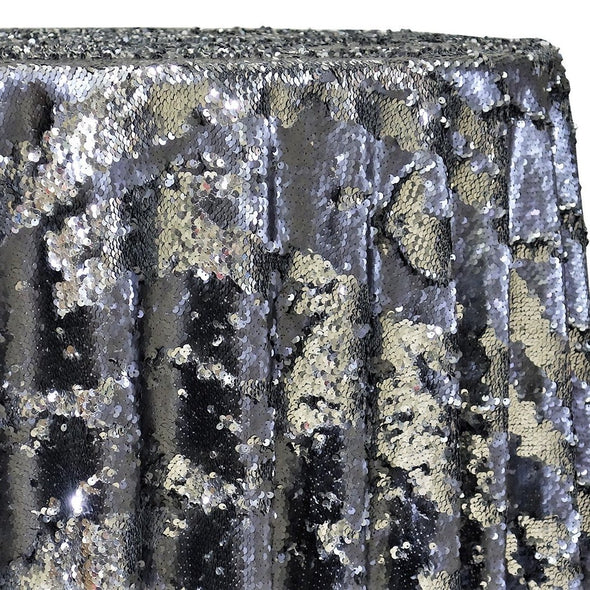 Two-Tone Sequins Table Linen in Pewter and Silver