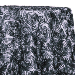 Rose Satin (3D) Table Linen in Pewter