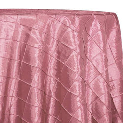 "2"" Pintuck Taffeta Table Linens in Pink Petal 007"
