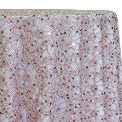 Flower Chain Lace Table Linen in Pink and Silver
