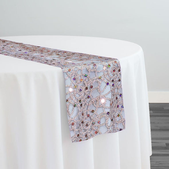 Flower Chain Lace Table Runner in Pink and Silver
