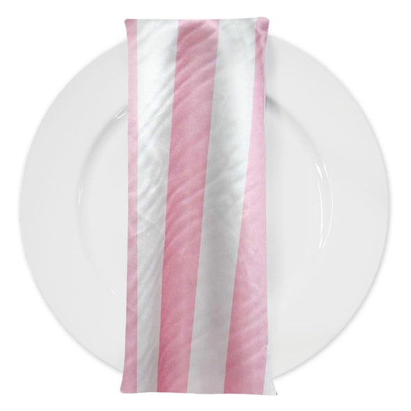 "2"" Satin Stripe Table Napkin in White and Pink"