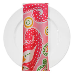 Pastel Paisley (Poly Print) Table Napkin in Pink