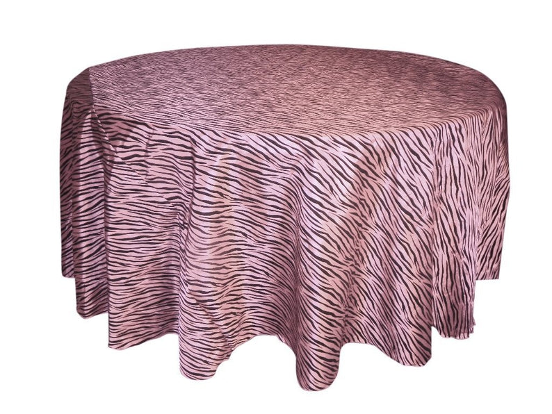"1pcs - Zebra Taffeta Flocking - 120"" Round - Pink/Black"