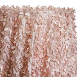 Leaf Hanging Taffeta Table Linen in Pink Petal