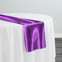 Bridal Satin Table Runner in Plum 555