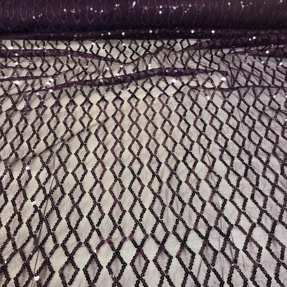 Vortex Sequins Table Linen in Plum