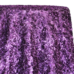 Curly Satin Table Linen In Plum