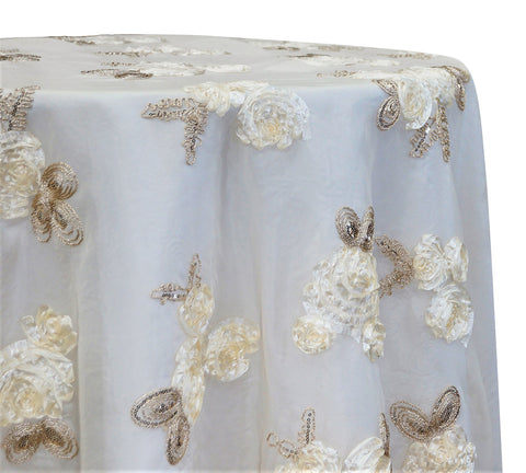 "Posh Collection - Ivory 120"" Round Wedding Tablecloth"