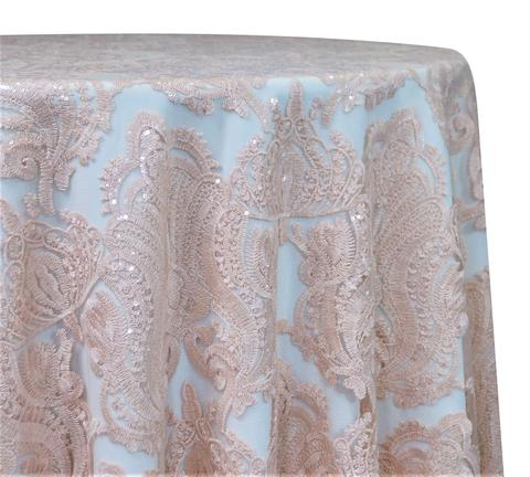 "Princess Lace - Blush 120"" Round Wedding Tablecloth"